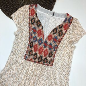 Akemi + Kin Embroidered Aztec Print V Neck Small